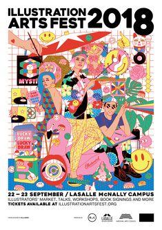 Illustration Arts Festival 2018 Poster on Behance Line Illustration, Character Illustration, Graphic Design Illustration, Digital Illustration, Graphic Design Posters, Graphic Design Inspiration, Graphic Art, Festival Posters, Art Festival
