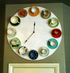"Teacup Clock - using teacups that are mismatched and collected at different times; I took this idea and used my really cheap dollar store kitchen clock, made mini tea cups from cardstock [tut is on one of my boards, btw] and glued them around the edges - not as ""big and bold"" but just as cute and adds a nice touch to my little owl's nest of a kitchen"