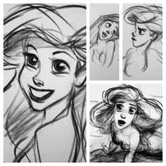ariel ! walt disney, princess, character sketches, draw ariel, thelittlemermaid, disney princes, disney animation, artist, ariel sketches