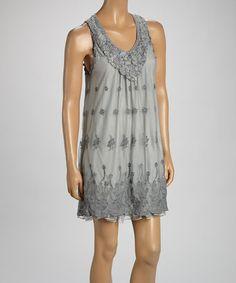 Another great find on #zulily! Gray Floral Linen-Blend Sleeveless Dress #zulilyfinds