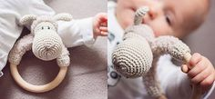 Sheep rattle - Rattles, blankies and stuffed animals; the cutest baby toys are self-made! By varying in colours, figures and yarns you can easily create the most beautiful sets for your little one. Continue reading for the free crochet pattern of the rattle and make it for your own baby, grand baby or as an original baby shower present!