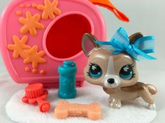 Littlest Pet Shop Cute Bronze Shimmer Corgi #871 w/Carrier & Accessories #Hasbro