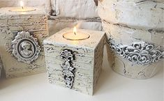Wood Block Crafts, Wood Crafts, Easy Crafts, Diy And Crafts, Iron Orchid Designs, Candle Craft, Shabby Chic Crafts, Wood Candle Holders, Painted Boxes