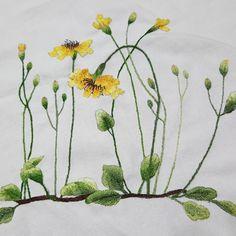 """좋아요 16개, 댓글 1개 - Instagram의 혜진안(@dbora_63)님: """"#꽃자수#야생화#좀씀바귀#flower stitch#handembroidery#자수도안"""""""