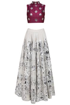 Off white and silver floral foil work lehenga and maroon blouse set available only at Pernia's Pop Up Shop. Lehenga Skirt, Lengha Choli, Anarkali, Indian Fashion Trends, Indian Fashion Designers, Indian Gowns Dresses, Indian Outfits, Indian Clothes, Salwar Kameez