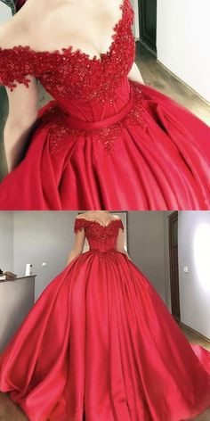 Red Ball Gown Off Shoulders Wedding Dress Prom Quinceanera Dress. Red Ball Gown Off Shoulders Wedding Dress Prom Quinceanera Dresses on Storenvy Lace Ball Gowns, Ball Gowns Prom, Ball Gown Dresses, 15 Dresses, Elegant Dresses, Pretty Dresses, Red Sweet 16 Dresses, Evening Dresses, Maternity Dresses