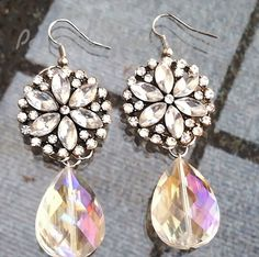 Crystal Flower and Crystal Teardrop Pendant by PASTICHEfashion, $26.00