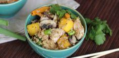"Paleo thai chicken mango fried ""rice"" - cauliflower, bel pepper, jalapeno, green onion"