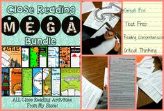 Close Reading MEGA Bundle 21 Close Reading Activities, plus more to come! ALL Close Reading Activities in my TPT Store, plus all new close reads when they are added! Perfect for PARCC Prep! Fiction & Nonfiction included. #CloseReading