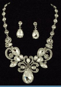 Vintage Style Silvertone Necklace with Earrings Accented with Clear Rhinestones