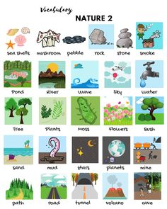 Learn the natural world vocabulary through pictures: nature words, universe and space terms, weather words and list of natural disasters in English. English Vocabulary Words, Learn English Words, English Lessons, English Grammar, French Lessons, Spanish Lessons, Kids English, English Study, English English