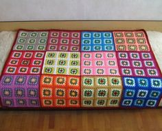 Granny square afghan red colorful home decor retro bed cover blanket crochet sofa picnic cozy and warm Granny Square Afghan, Granny Square Crochet Pattern, Crochet Squares, Crochet Granny, Blanket Crochet, Granny Squares, Big Granny, Crochet Home, Love Crochet