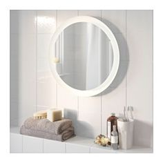 IKEA - STORJORM, Speil med integrert belysning, , LED-lyskilden bruker cirka 85 % mindre energi og varer 20 ganger lenger enn glødepærer.Gir et spredt lys, godt for å lyse opp større områder på badet.Speilet leveres forseglet med sikkerhetsfilm på baksiden, noe som reduserer faren for skader dersom speilet knuses.