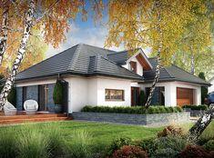 DOM.PL™ - Projekt domu DPS Nebraska CE - DOM DPS1-29 - gotowy koszt budowy Village House Design, Village Houses, Dream House Plans, Modern House Plans, Balcony Grill Design, One Storey House, African House, Modern Bungalow House, Design Living Room
