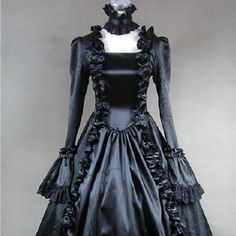 Black Goth Victorian Edwardian Clothing Wedding Ball Gowns Prom Dresses SKU-303007