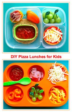 DIY pizza lunch in EasyLunchboxes & muffin tin meal