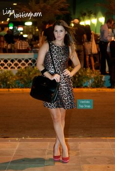 Leopard dress and red scarpin