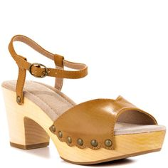 Spring fashion awaits from this trendy sandal by Restricted. The Colby is created with a soft natural leather upper and clog inspired look. A 3 inch block heel and 1 inch platform is derived from light earthy wood. Trendy Sandals, Shoe Boots, Cl Shoes, Natural Women, Ankle Strap Heels, Natural Leather, Block Heels, Clogs, Spring Fashion