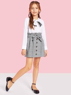 Girls Paperbag Waist Button Up Plaid Skirt With Belt - Cute Outfits Preteen Girls Fashion, Girls Fashion Clothes, Kids Outfits Girls, Cute Outfits For Kids, Teen Fashion Outfits, Cute Girl Outfits, Kids Fashion, Casual Outfits, Kids Clothing