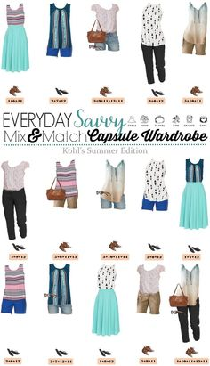 Fun Kohls Summer Outfits. These pieces mix and match for 15 different outfits for summer. This is a great summer mini capsule wardrobe.  via @everydaysavvy