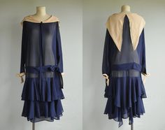 Vintage 20s Silk Dress /  1920s Sheer Navy Blue Silk Chiffon Flapper Dress With Beige Portrait Collar Ruffled Skirt