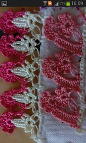 Two lovely edges Crochet Motif Patterns, Crochet Borders, Baby Knitting Patterns, Crochet Designs, Bead Crochet, Crochet Earrings, Crochet Curtains, Needle Lace, Crochet Accessories
