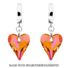 Náušnice s kryštálmi Swarovski Elements WILD HEART Astral Pink 17 mm   Divine Jewellery eshop