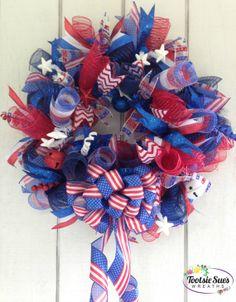 PatrioticDeco MeshAmericanUSA4th of JulyDoor by TootsieSuesWreaths, $75.00