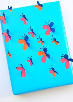 3D cutout butterfly wrapping paper- such a cute spring DIY craft