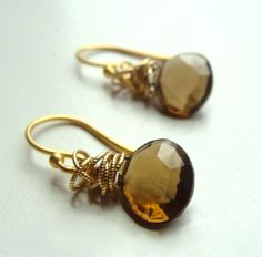 Tidal Earrings with Whisky Topaz Wire Wrapped with Gold Fall Fashion. $36.00, via Etsy.