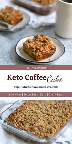 Perfect for breakfast or dessert.) This Keto Coffee Cake is delicious, moist and buttery. The cinnamon crumble topping and middle is heavenly. And best of all, it's low carb / keto / sugar free / grain free! Keto Friendly Desserts, Low Carb Desserts, Low Carb Recipes, Dessert Recipes, Delicious Desserts, Diet Recipes, Quark Recipes, Chicken Recipes, Mince Recipes