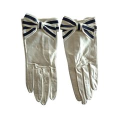Yves Saint Laurent White Leather Gloves with Bows | From a collection of rare vintage gloves at http://www.1stdibs.com/fashion/accessories/gloves/