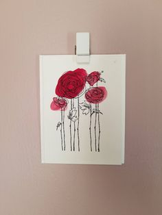 Rose watercolor Valentine card by SterlingPineStudio on Etsy