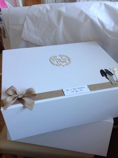 Wedding Keepsake Box With Magnetic Closure And Ribbon Tie GIFT To ...