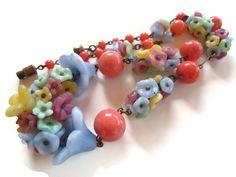 1920s Czech Glass Flower Bead Choker Necklace   Tansy Bel