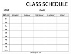 Free blank printable class schedule template for preschool kids, middile school, college students. Get weekly class timetable hourly planner for teachers. School Schedule Printable, Class Schedule Template, Timetable Template, Planner Template, Timetable Planner, Class Timetable, Hourly Planner, Planners For College Students, College Schedule