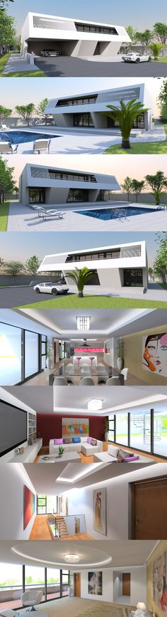 Luxury 4 Bed / bath contemporary home with ultra modern aesthetic. Swimming Pools Backyard, Garden Pool, Home Design Plans, Plan Design, 2 Car Carport, Tropical Patio, Village Photos, Contemporary House Plans, Reinforced Concrete