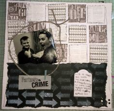 Partners in Crime layout by LANE Herron..  Uncle and Nephew.. Wedding.. how to tie a tie.. black and white.. winner at local show 2014.. https://www.facebook.com/scrapcrazy.customcreations