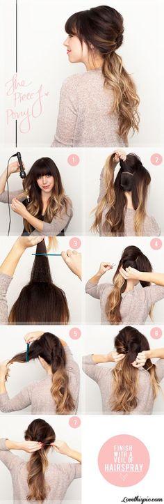 Conseils et tuto coiffure comment faire une queue de cheval avec frange courte ou longue, une frange sur le côté ou asymétrique avec cheveux courts, longs.