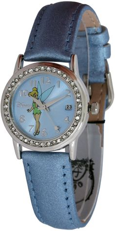 DISNEY TINKERBELL WATCH TK1003 Crystal Accent Date Dial Blue Leather Band Watch