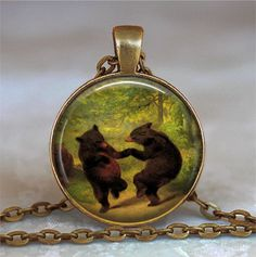 Dancing Bears pendant, Bear couple resin pendant, Bear necklace, love, dance