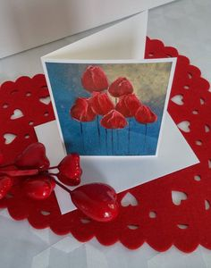 """Format de la carte : 4"""" x 6"""" (10,16 x 15,24 cm), sur carton de type Cool white avec enveloppe blanche.  L'image représente une photo d'une toile réalisée par l'artiste Lucy Patoine. Inscrivez votre propre message. Pour vous inspirer, nous vous invitons à télécharger des textes sur le thème de l'amour pour la St-Valentin. Vous retrouvez """"Les carnets de Madame Paraci"""" sur notre boutique en ligne www.conceptionidecrea dans la section """"St-Valentin"""" Inspirer, Madame, Flag, Boutique, Etsy, Pretty Cards, Cabbages, Notebooks, Texts"""