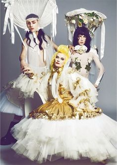 Pam Hogg with Josh Quinton and Andy Bradin (DISCO SMACK) shot by Louie Banks, for the shoot I cast, produced and styled for PAPER magazine - April 2014.