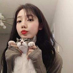 asian girl, cat, and grunge image