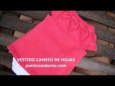 tutorial en video, instrucciones y gráfico para hacer un vestido tejido a dos agujas, con canesú de hojas