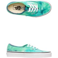 Vans Tie Dye Authentic Shoe (60 CAD) ❤ liked on Polyvore featuring shoes, sneakers, blue, blue canvas shoes, canvas lace up shoes, blue canvas sneakers, waffle shoes and vans footwear