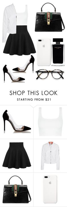 """""""Untitled #74"""" by alya-rayhani ❤ liked on Polyvore featuring Gianvito Rossi, WithChic, Schott NYC, Gucci and Narciso Rodriguez"""