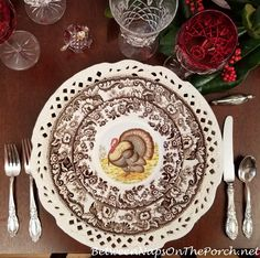 Thanksgiving Table, Pottery Barn Turkey Centerpiece Thanksgiving Plates, Thanksgiving Traditions, Thanksgiving Table Settings, Thanksgiving Tablescapes, Thanksgiving 2020, Spode Woodland, Woodland Decor, Turkey Plates, Wicked Good