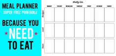 Meal Planning Free Printable with Breakfast, Lunch & Dinner !