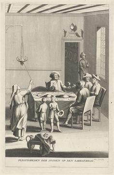 Philip van Gunst   Viering van de Sabbat bij een joods gezin, Philip van Gunst, 1685 - 1725   Een joods gezin aan de eettafel. De moeder steekt een kandelaar met zes pitten aan. De man zegent de maaltijd met de traditionele Kidoesj.